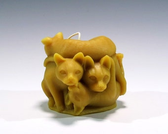 Beeswax Cat Candle, Large Cat Candle, Cat Candle, Cats 100% pure Beeswax Candle