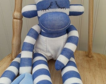 50% Off -- Baby Sock Monkey Doll with Diaper and Blanket