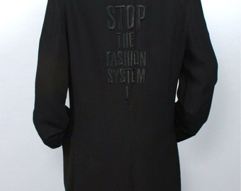"MOSCHINO COUTURE Vintage Boyfriend Blazer Black ""Stop The Fashion System"" Jacket - AUTHENTIC -"