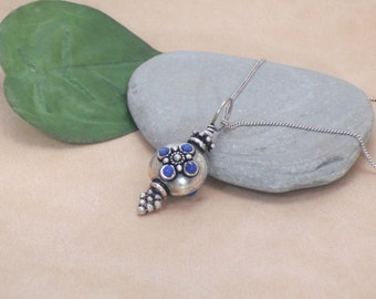 Necklace Bali Silver Pendant with Lapis Accents Sterling Silver Necklace