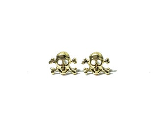 Skull studs - Tiny gold brass skull studs earrings with sterling silver posts