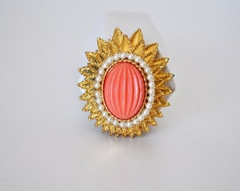 Vintage Emmons Coral and Pearl Brooch