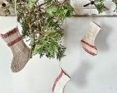 French Small Red Grainsack Stocking - Vintage Heavy Hemp Linen -  Christmas Socks Tiny