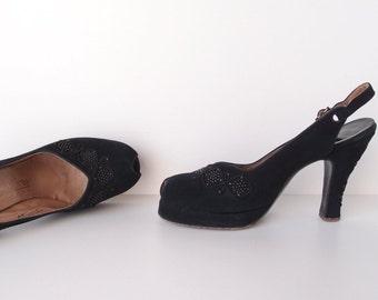 "1940s Peep-Toe Platform Heels ... Pandora Footwear luxe black doeskin suede marcasite studs ribbon cord 4"" high heel shoes sz 6 1/2A"
