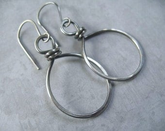 Sterling Silver Hoop Earrings Oxidized Hammered Hoops Casual Everyday Jewelry Under 25