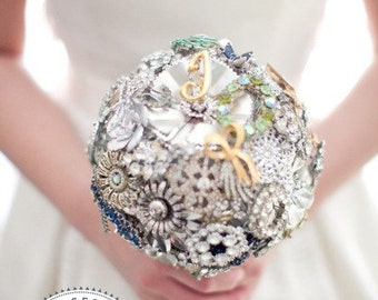 Brooch Bouquet - Neutral Silver Gold metallic Custom Modern Jewelry Heirloom Bouquet - Medium - Handmade in the USA