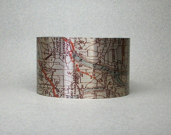 Keuka Lake New York Hammondsport Map Cuff Bracelet Unique Gift for Men or Women