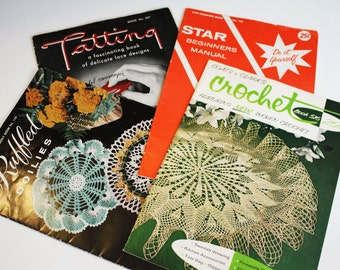 Vintage Crochet Knitting Tatting and Lace How to Books (Lot of 4)