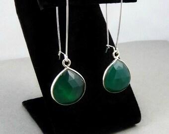 Emerald Earrings, Stone Earrings, Gemstone Earrings,Long Earrings, Minimalist Earrings, Natural Stone, Simple Earrings, Sterling Silver