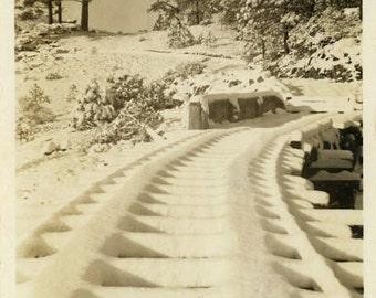 "Vintage Photo ""Powdered Tracks"" Winter Snow Snapshot Photo Old Antique Photo Black & White Photograph Found Photo Paper Ephemera Image - 75"