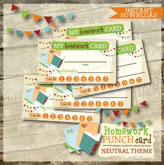 Printable Homework Punch Cards
