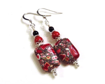Red Gray & Black Mosaic Earrings With Swarovski Pearls, Red Earrings, Gray Earrings, Black Earrings, Red Pearl Earrings, Black Pearl Earring