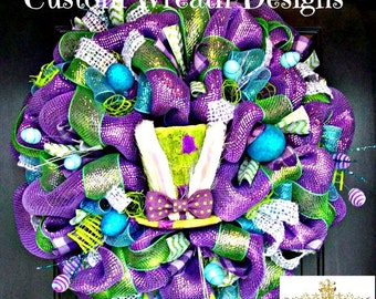 Whimsical Easter Bunny Hat  Wreath