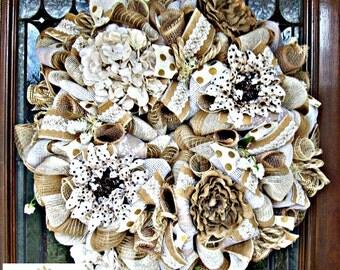 Shabby Chic Burlap Wreath, wreath, wreaths, deco mesh wreath, deco mesh wreaths, front door wreaths, year round wreath, shabby chic wreath