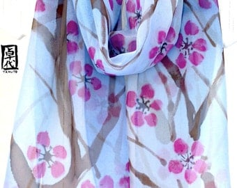Large Blue Silk Scarf Handpainted, Pink Plum Blossoms Blue Floral Scarf, Large Silk Chiffon Scarf, 13x69 inches.