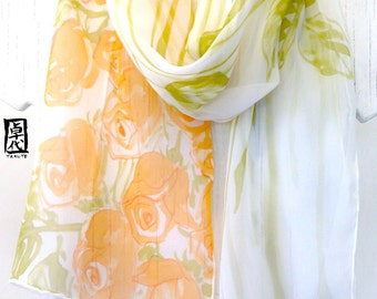 Silk Scarf Handpainted, Gift for her, Orange and Green Scarf, Orange Roses Scarf, Silk Scarves Takuyo, Chiffon Scarf, 10x59 inches.