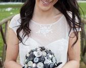 Black Silver Bridal Button Bouquet
