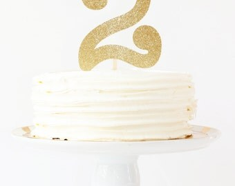 Gold Glitter Cake Topper Girls 2nd Birthday Party Decoration Number Age Cake Topper Gold Glitter Party Supplies Second Birthday Gold White