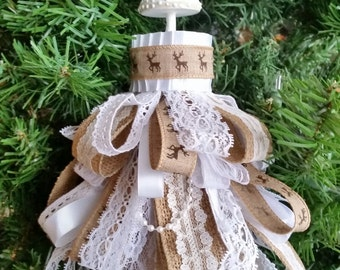 Snow Forest & Lace Decorative Chalk Painted Tree Tassel Ornament