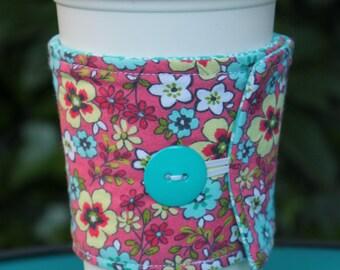 Fabric Coffee Cozy, Cotton Cozie, Flower, Travel Mug, Starbucks Cup, Iced Coffee, Coffee Sleeve, to go, zarf