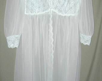 Vintage Florbell White Lace Semi-Sheer Nylon Boudoir Robe Rhinestone Buttons size 40-42 Negligee