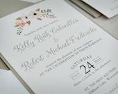 Wedding Invitation - Watercolor Floral - Rustic - Champagne - Gold