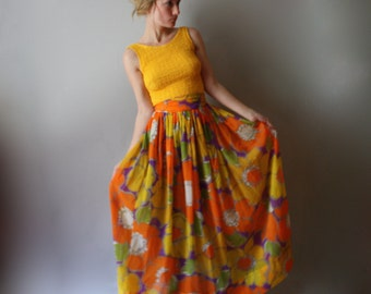 Vintage Floral Maxi Dress 70s 60s Sleeveless Sheer Skirt Hippie Dress Colorful & Bright Small XS