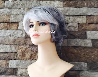 Faith // Short grey full synthetic wig