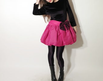 Vintage Black Pink Puffy Dress With Ribbon