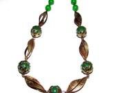 vintage 1930's glass necklace choker, czech glass cabochon choker
