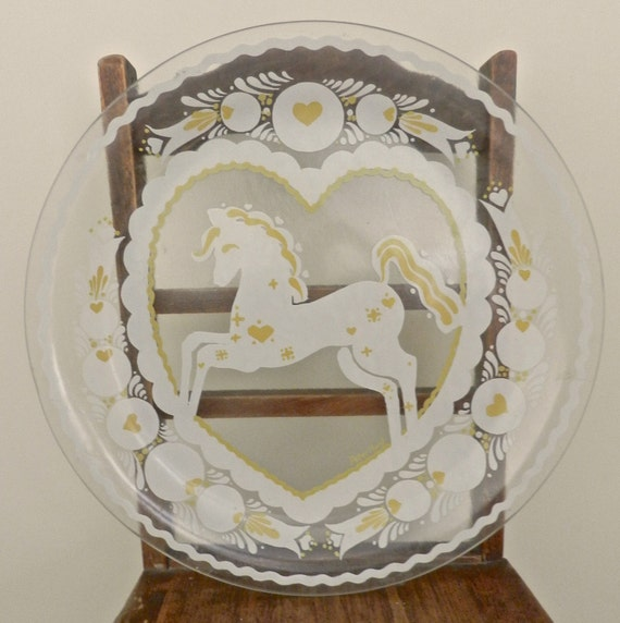 Vintage Folk Art Glass Platter Artist Peter By Larefurbish