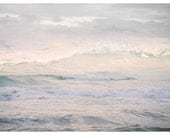 Ocean waves photography, abstract water oversized art, Sea landscape print, pastel pink, extra large wall art, panoramic photo poster, 24x36