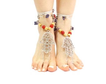 Hamsa Hand Barefoot sandals Tribal Belly Dance Ethnic Wedding Hippie Boho Ankle wrap sandal bare feet Foot jewelry Toe Anklets