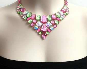 Pink, aurora borealis and peridot green rhinestone bib necklace