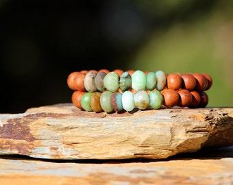 Moss Green Peruvian Opal and Sandalwood Stack Bracelet, Yoga, Organic, Peru Opals and Sandalwood, Trendy, In Style, Boho Chic Beach Jewelry