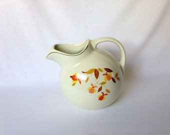 Vintage Hall's Superior Quality Autumn Leaves Ball Jug Pitcher with Ice Lip Straining Spout Serving Kitchenware