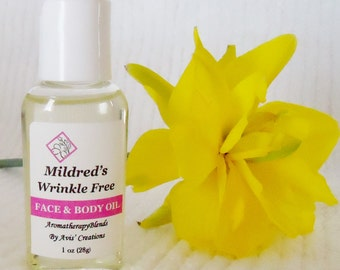 Wrinkle Free, Face & Body Oil, Anti Aging, Moisturizing, Skin Smoothing, Face and Body Oil, 1oz size.