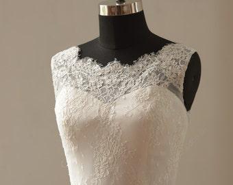 Ivory a line lace wedding dress
