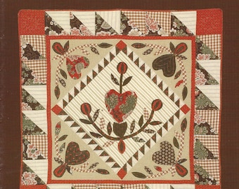 """Jan Patek - Quilt Pattern Foldout Leaflet- Hearts Flowers and Chocolate - Finished Quilt Size 48"""" x 48"""""""
