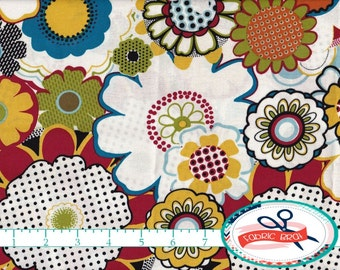 LARGE FLORAL Fabric by the Yard, Fat Quarter Red Blue & Mustard Yellow Fabric Flower 100% Cotton Fabric Apparel Fabric Quilting Fabric a4-16