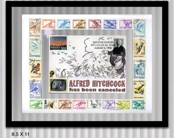 Original, framed Alfred Hitchcock extended stamp portrait by Dave Woodman