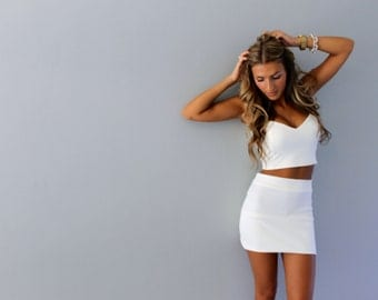 Crop top and skirt set, crop top and skirt, white crop top, white crop top and skirt set, crop top dress, homecoming dress, prom dress.