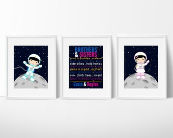 Astronaut Print - Outer Space Decor - Siblings Art - Brothers and Sisters Prints - Playroom Wall Art - Kids Room Decor - Set of 3 Prints