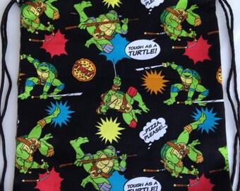Teenage Mutant Ninja Turtle Backpack, Drawstring Backpack, TMNT Bag, Overnight Bag, Toddler Bag, TMNT Party, Gift Bag, TMNT Birthday Party