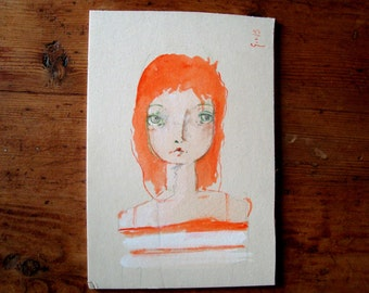2015 red hair Portrait small design on cartonlegno