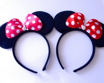 Minnie ears, Red minnie ears, Pink Minnie mouse ears, pink minnie mouse, Disneyland, classic minnie mouse ears, pink Polka Dot minnie ears