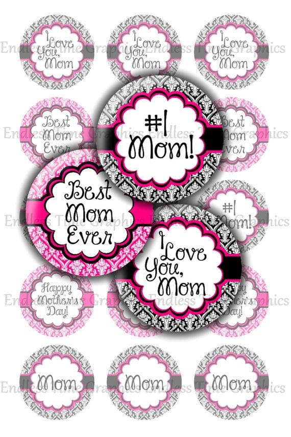 Mother s day bottle cap images digital i love you mom
