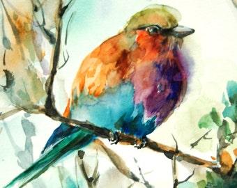 Bird Watercolor Print, Lilac Bird Watercolor Painting Art Print