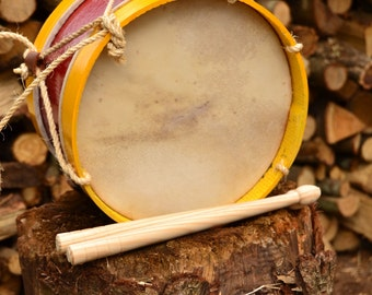 Colored Drum (25cm diameter - 9.8in). Goatskin drumheads.