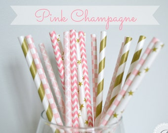 PINK CHAMPAGNE Paper Straws // Chevron - Stars - Stripes - Damask // 5 Designs